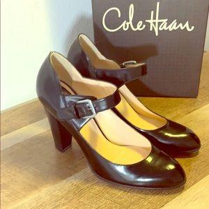 Cole Haan Lucetta Maryjane Black Patent Lthr Heel